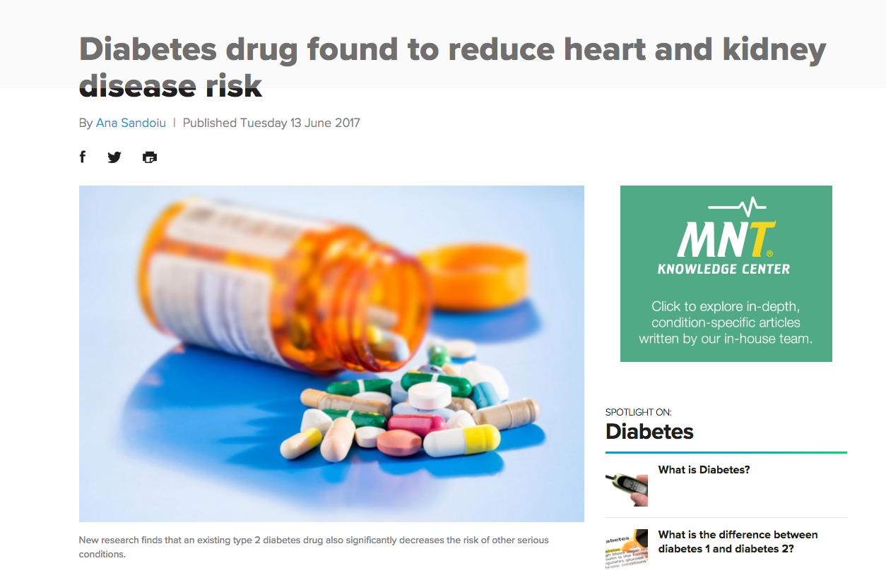 Diabetes drug found to reduce heart and kidney disease risk