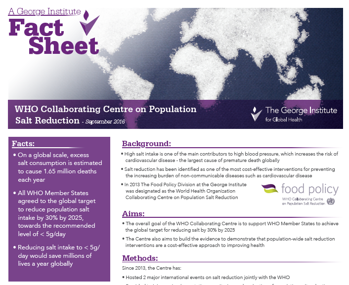 WHO Salt Collaborating Centre factsheet